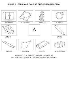Atividades para alfabetização - Ligue a figura na letra inicial.