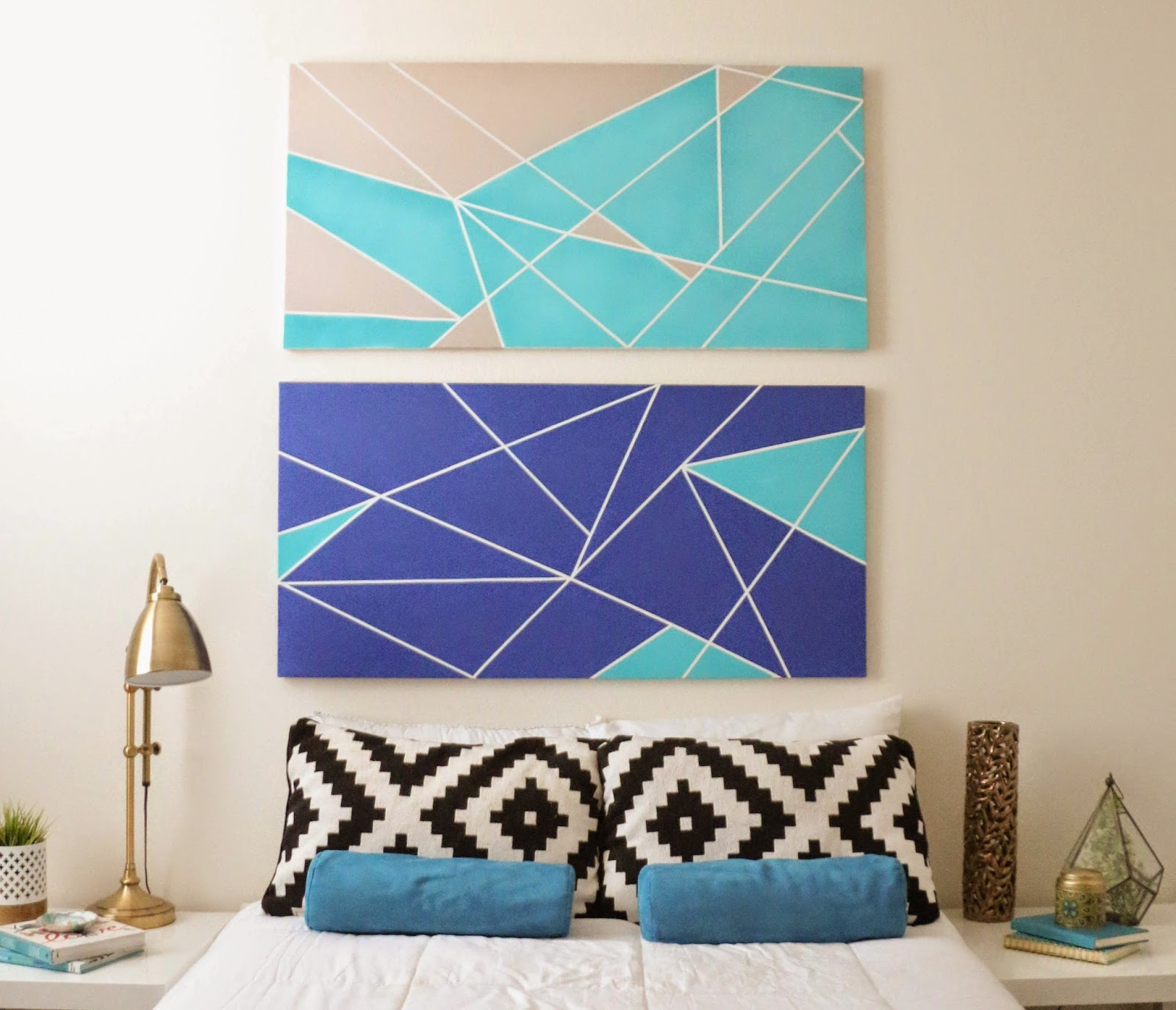 a kailo chic life make it a geometric canvas headboard bedroom headboard wall decal bedroom headboard wall art