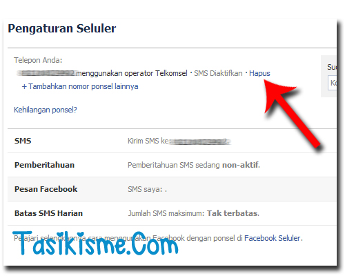 Stop SMS FAcebook