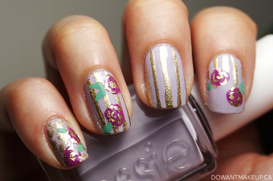 Floral stripe nail art