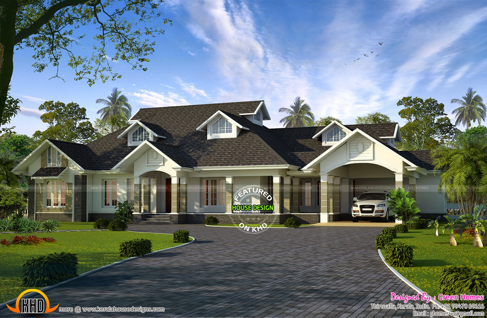 Single floor colonial mix house kerala home design and for Colonial style home design in kerala
