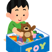 おもちゃを片付けている子供のイラスト