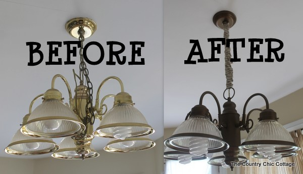 Primitive bathroom lighting fixtures - How To Spray Paint Your Light Fixtures The Country Chic