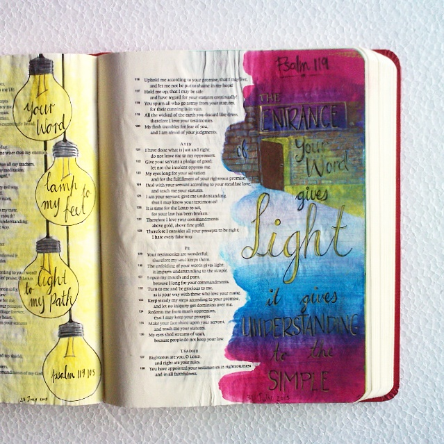 The entrance of your words gives light;it gives understanding to the simple.Psalm 119:140 #illustratedfaith #biblejournaling #lovegodgreatly