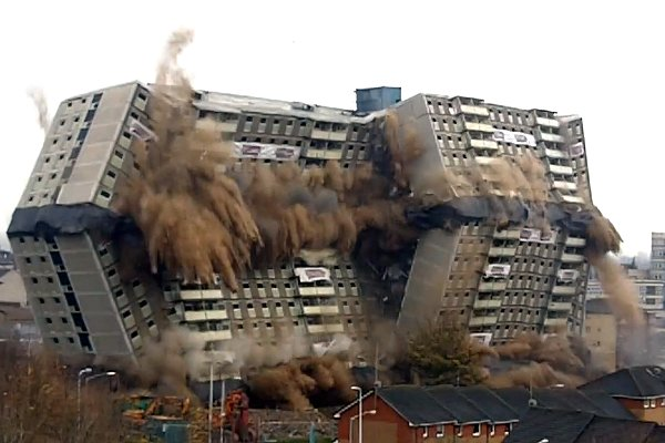 Building Demolition With Explosives : We show as a building explodes to demolish dci