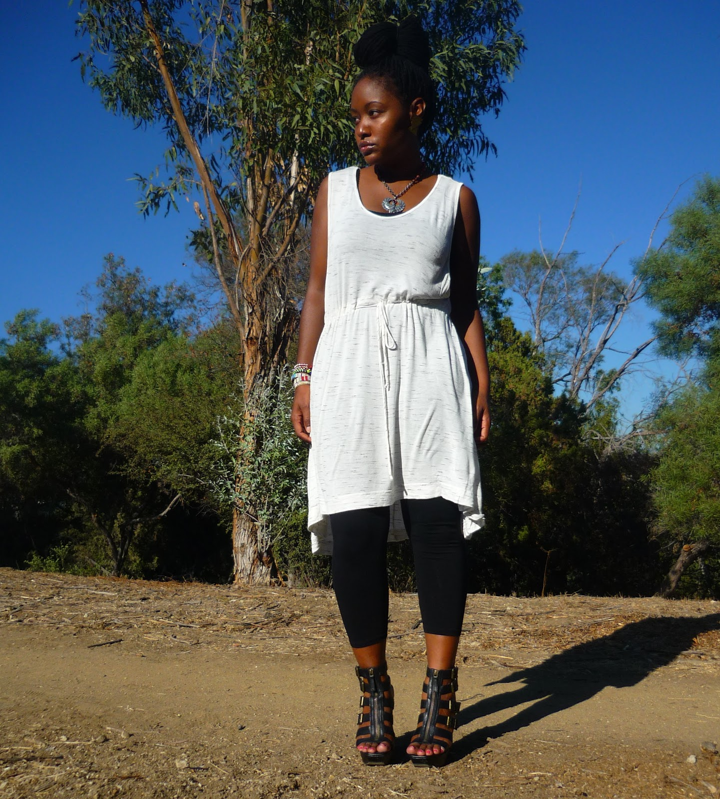 Black Tank Dress with Leggings