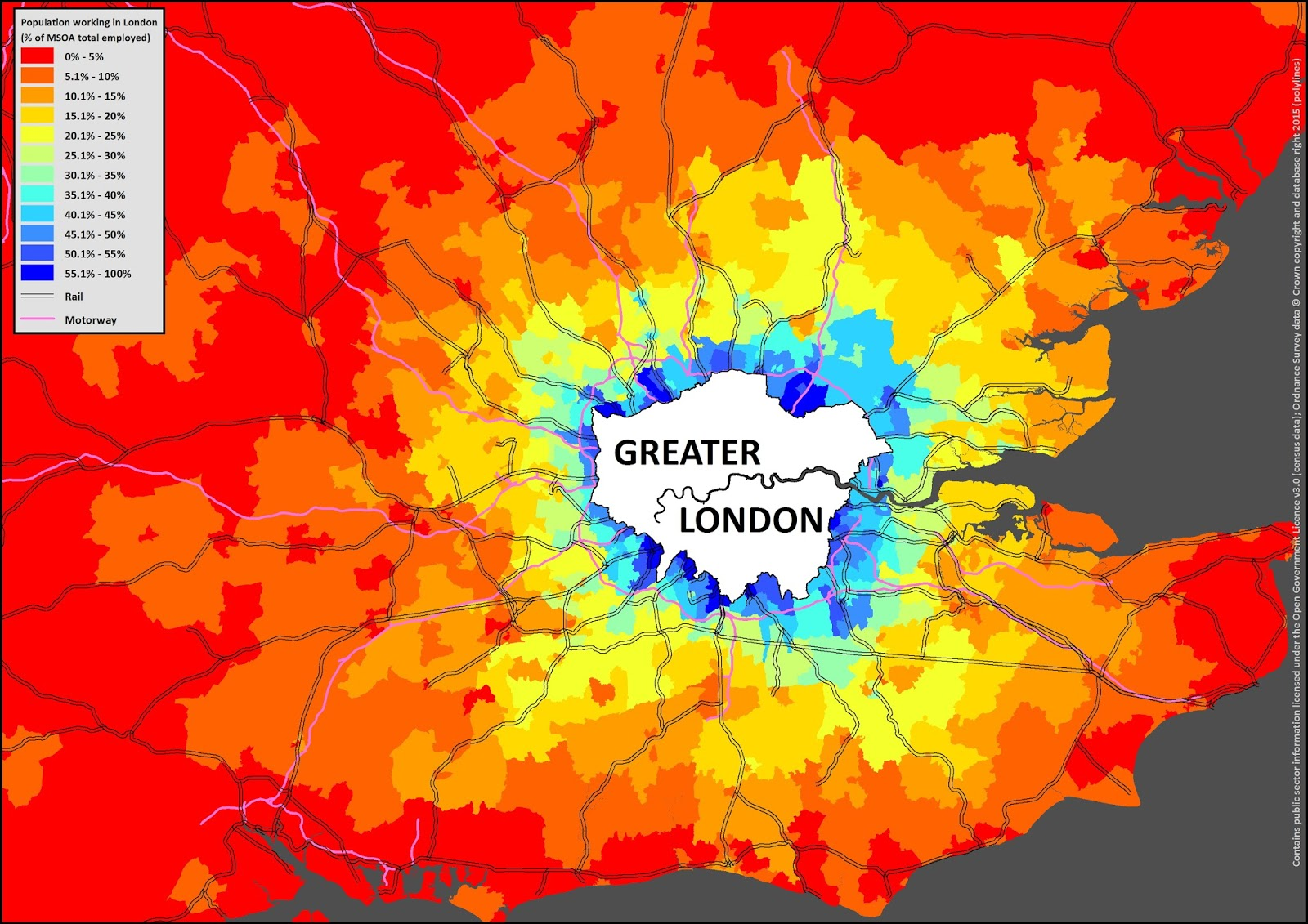 Population working in London