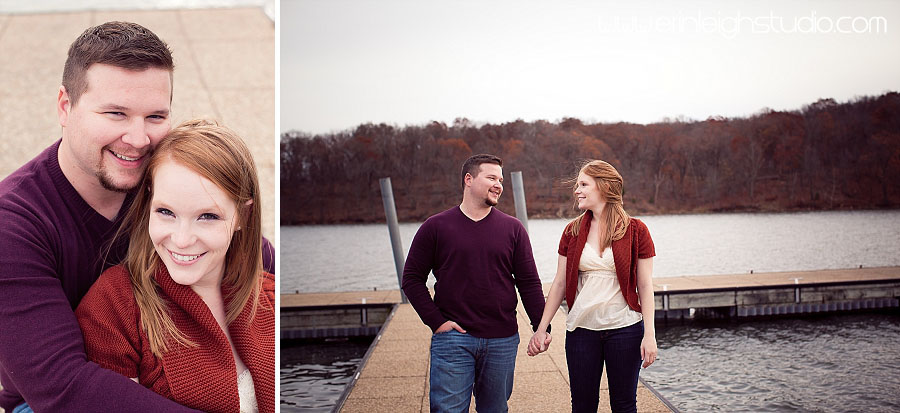 engagement photos on a dock at shawnee mission park