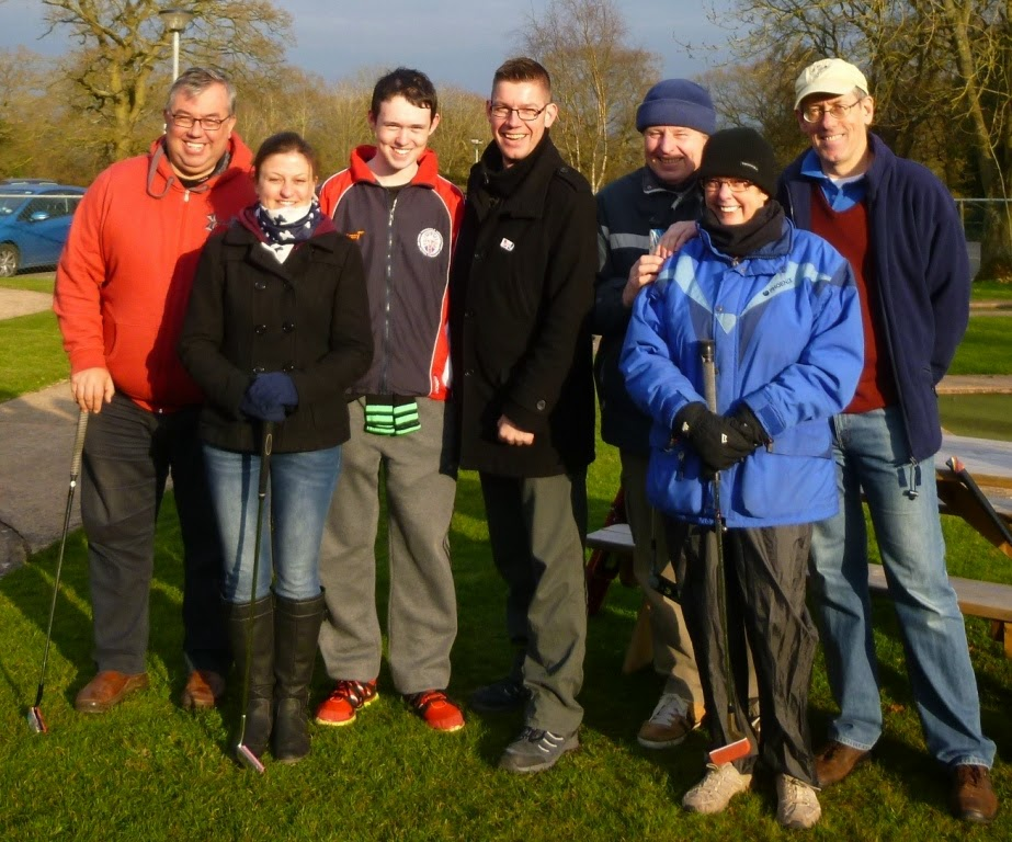 The Dorridge Invitational Tournament competitors at the Four Ashes Golf Centre, from l-r Adrian Amey, Emily Gottfried, Will Donnelly, Richard Gottfried, Steve Sturdy, Ruth Burke, Dave Donnelly