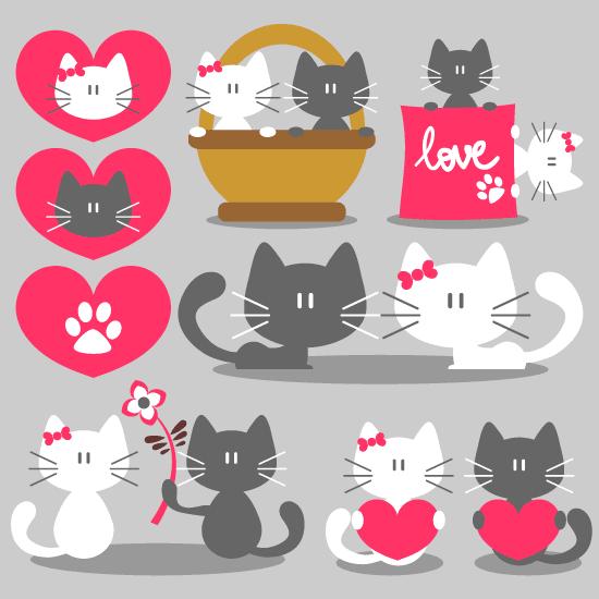 San Valentín con gatitos - vector