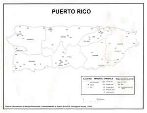 Mapa los minerales de Puerto Rico