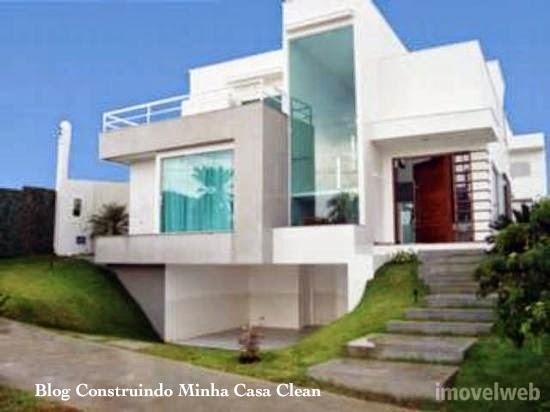 Construindo minha casa clean fachadas de casas com garagem for Fachadas de casas modernas a desnivel