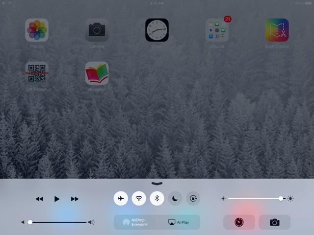 Écran iPad avec Airdrop