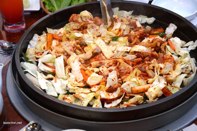 The vegetables, and meat used to cook our dak-galbi dish