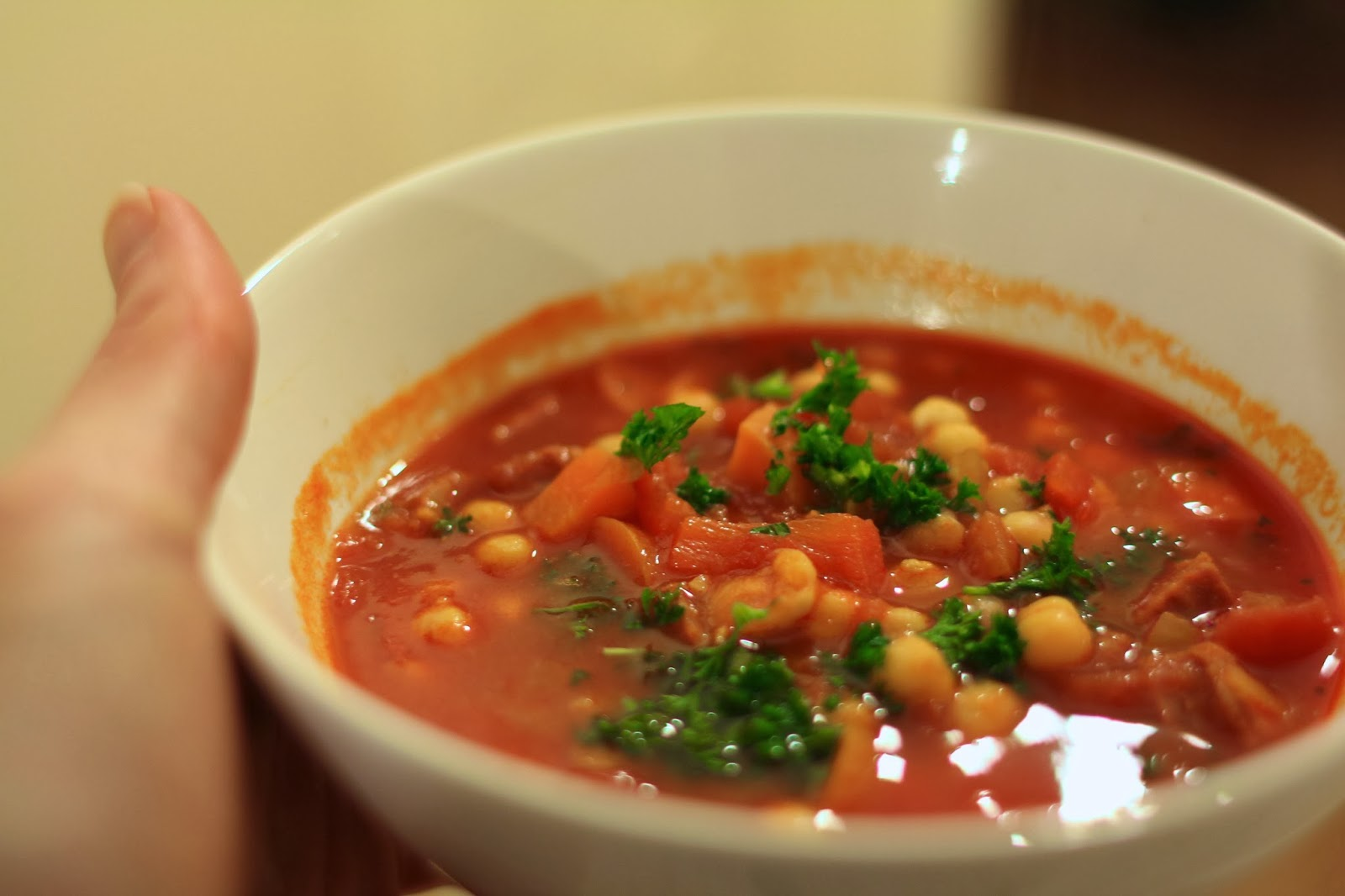 Chorizo and chickpea soup - Serves 2 adults easily with seconds (or ...