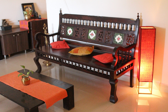 Living room makeover a kerala style interior in the for Living room interior bangalore