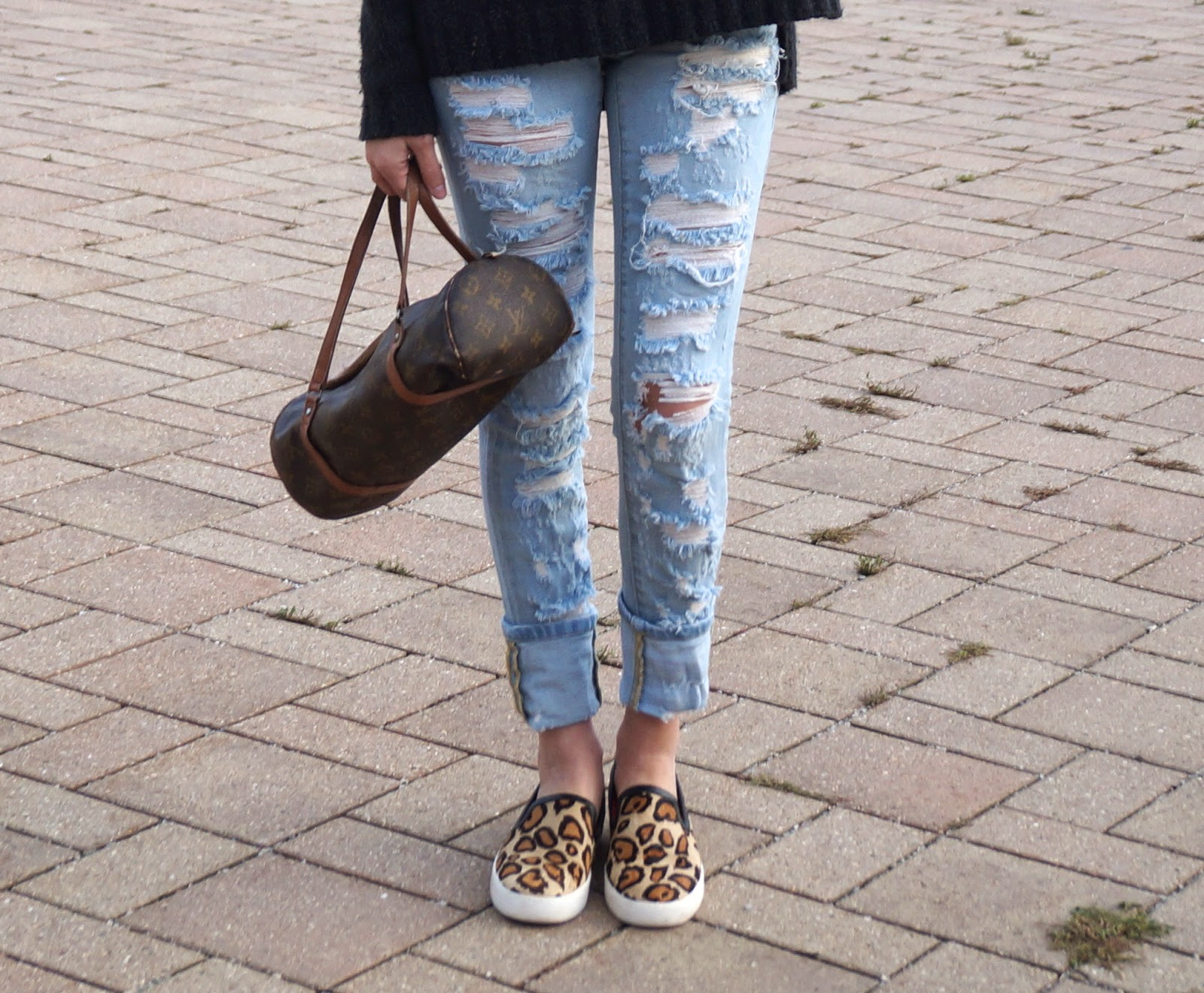 distressed denim + sneakers