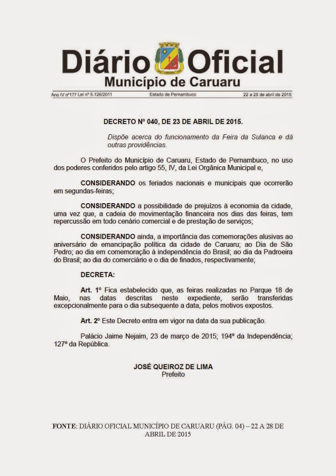 JORNADA DE TRABALHO NO FERIADO 18 DE MAIO