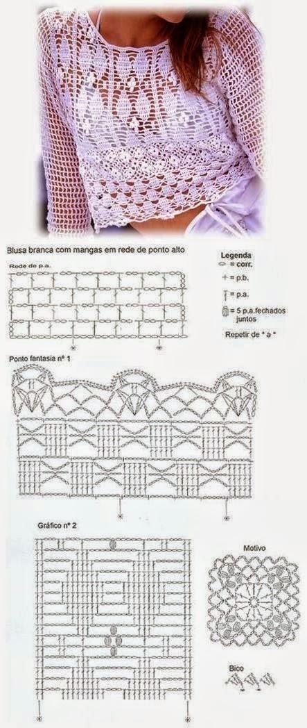 Patrones de blusa crochet delicada