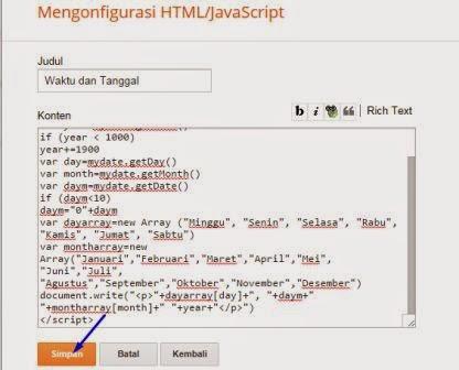 cara memasang widget tanggal bahasa indonesia di blog