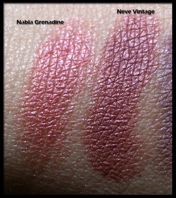 Neve Cosmetics - Ombretti Minerali - Swatch di confronto tra Vintage e Grenadine by Nabla Cosmetics