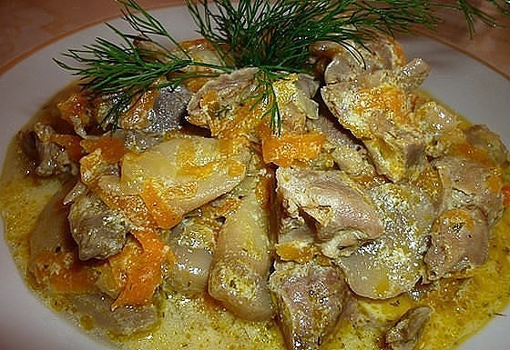 Куриные желудки с картошкой рецепты в мультиварке