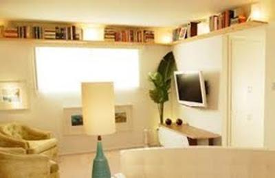 estantes almacenamiento sala pequeña