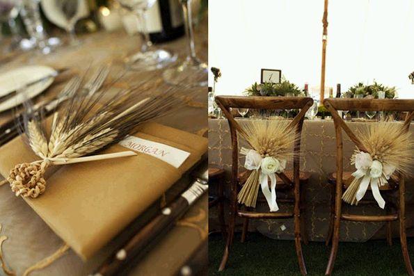 Decoracion Rustica Para Fiestas ~ uso de espigas para la mesa y sillas
