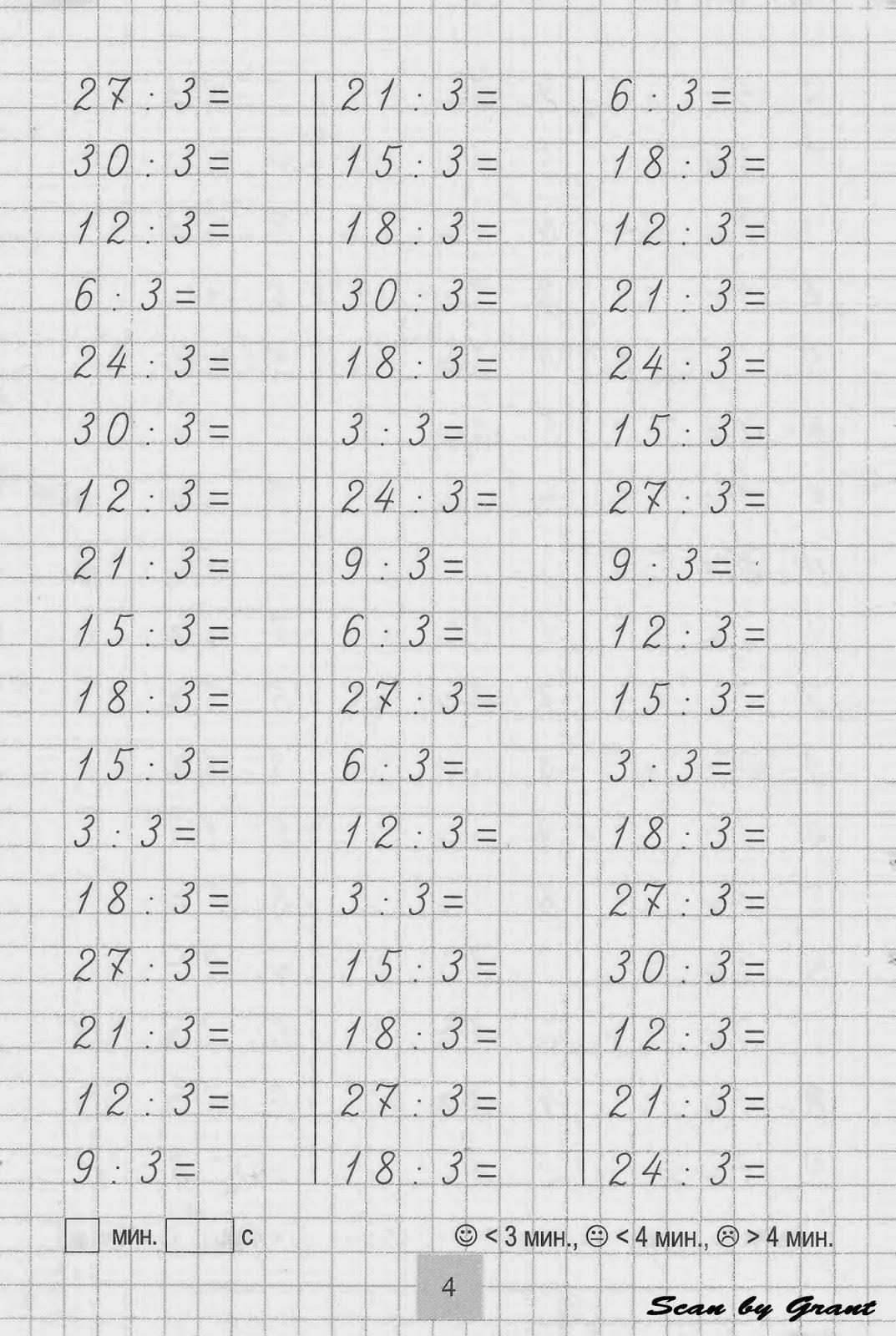 Таблица на деление 17 фотография