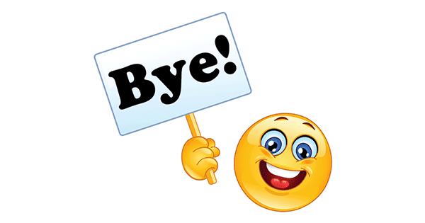 smiley saying bye symbols emoticons. Black Bedroom Furniture Sets. Home Design Ideas