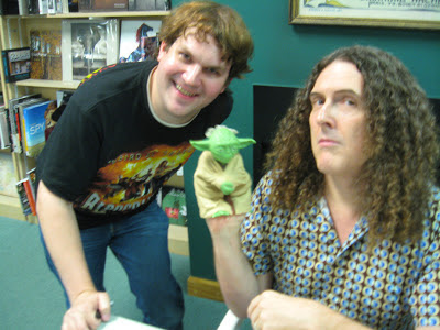 """Weird Al"" Yankovic, Star Wars, Yoda, puppet, Chris Knight, Quail Ridge Books, My New Teacher and Me!, Raleigh, North Carolina"