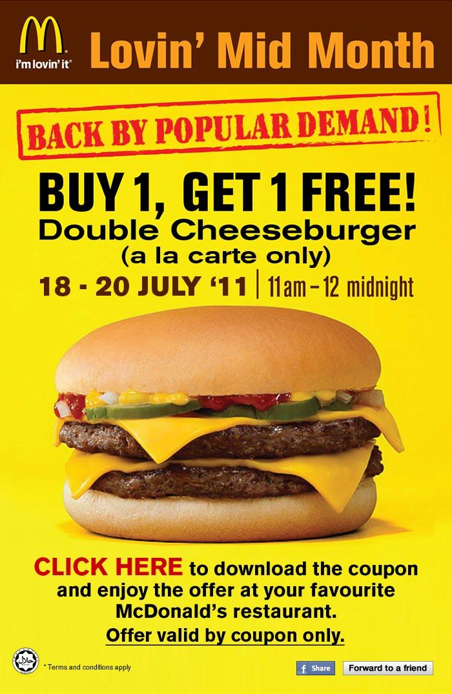 McD Lovin' Mid Month - BUY 1 GET 1 FREE Double Cheeseburger