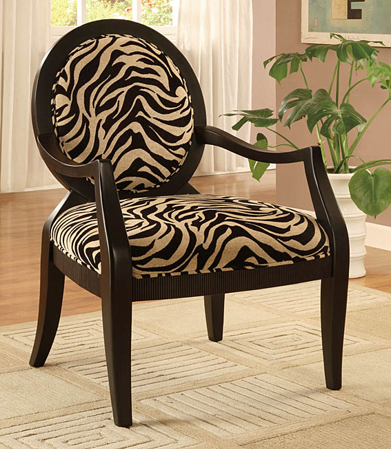 Maggie's Room: Oval Back Zebra Print Arm Chair
