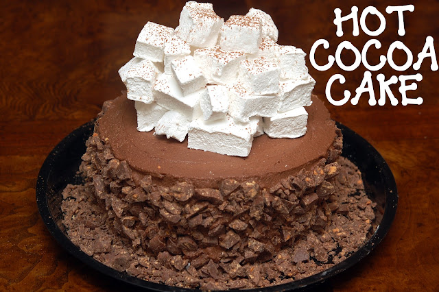 ... LAYER, HOT CHOCOLATE CAKE WITH HOMEMADE MARSHMALLOWS & CRUSHED
