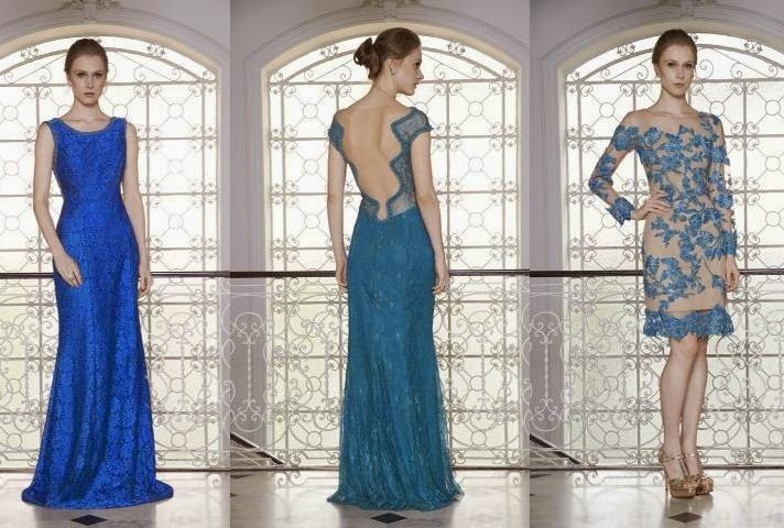 vestido de renda festa azul