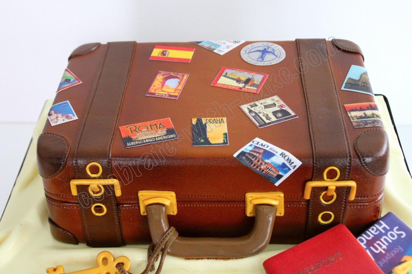 21st Birthday Vintage Luggage Cake
