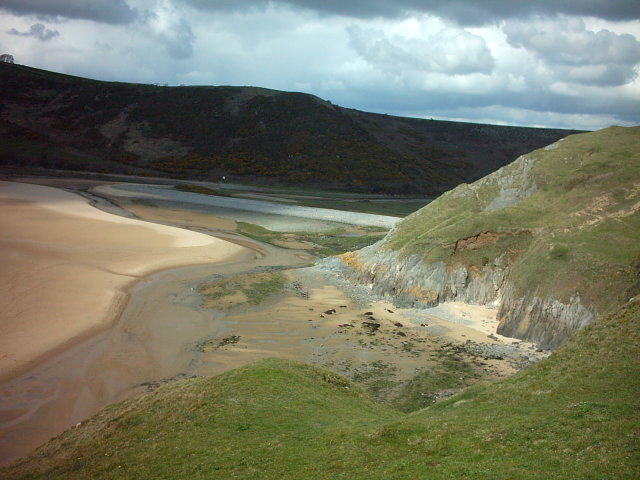 Beach at Three Cliffs Bay Gower Peninsula, Wales