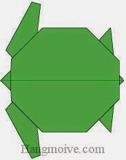 Bước 17: Hoàn thành cách xếp con rùa bằng giấy theo phong cách origami.
