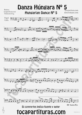 Tubescore Hungarian Dance nº 5 by Johannes Brahms Sheet Music for Cello and Bassoon