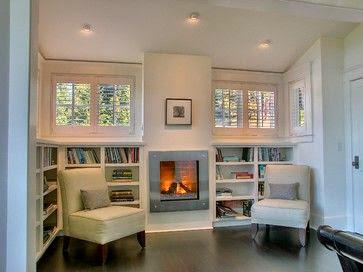 basement window treatments centered fireplace