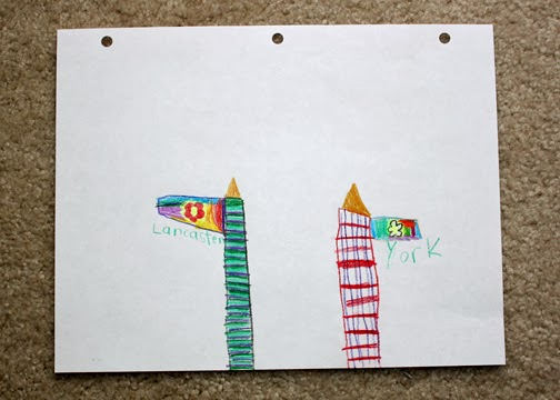 Tessa went color crazy in designing her Lancaster and York banners. (Huh, just realized we failed to follow directions. There were supposed to be two knights holding these banners. Oops! Guess we both glazed over that first part.)