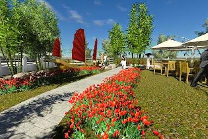 Gambar 3D Desain Taman Alam Tropis Cafe Minimalis Bagus Rapi