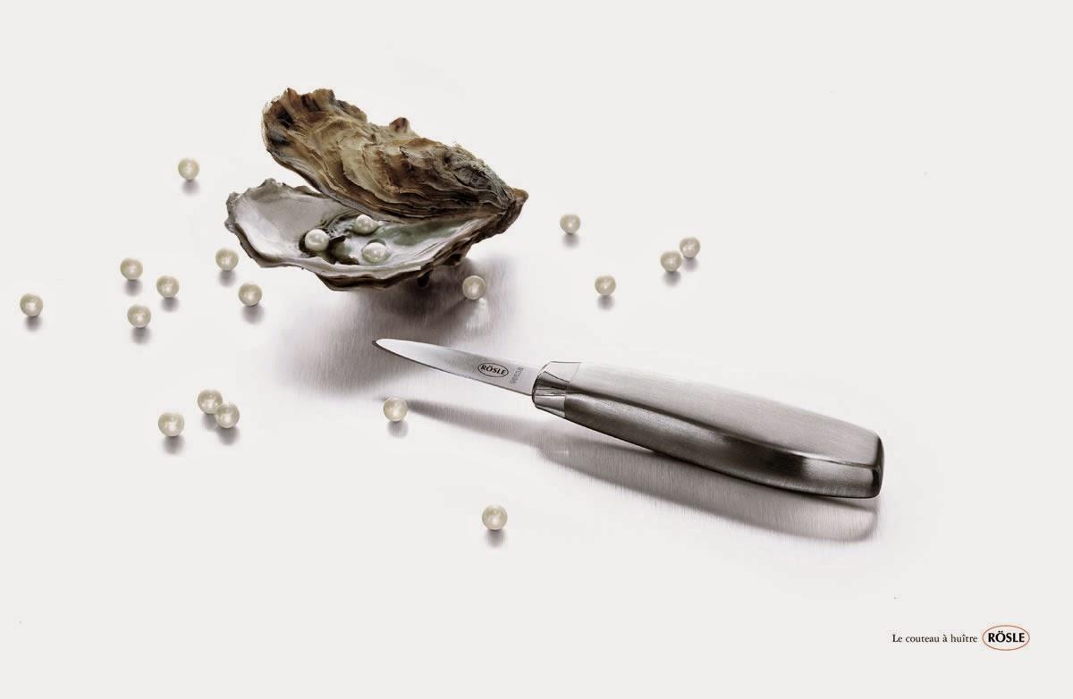 trouver des perles dans les huîtres avec un couteau RÖSLE