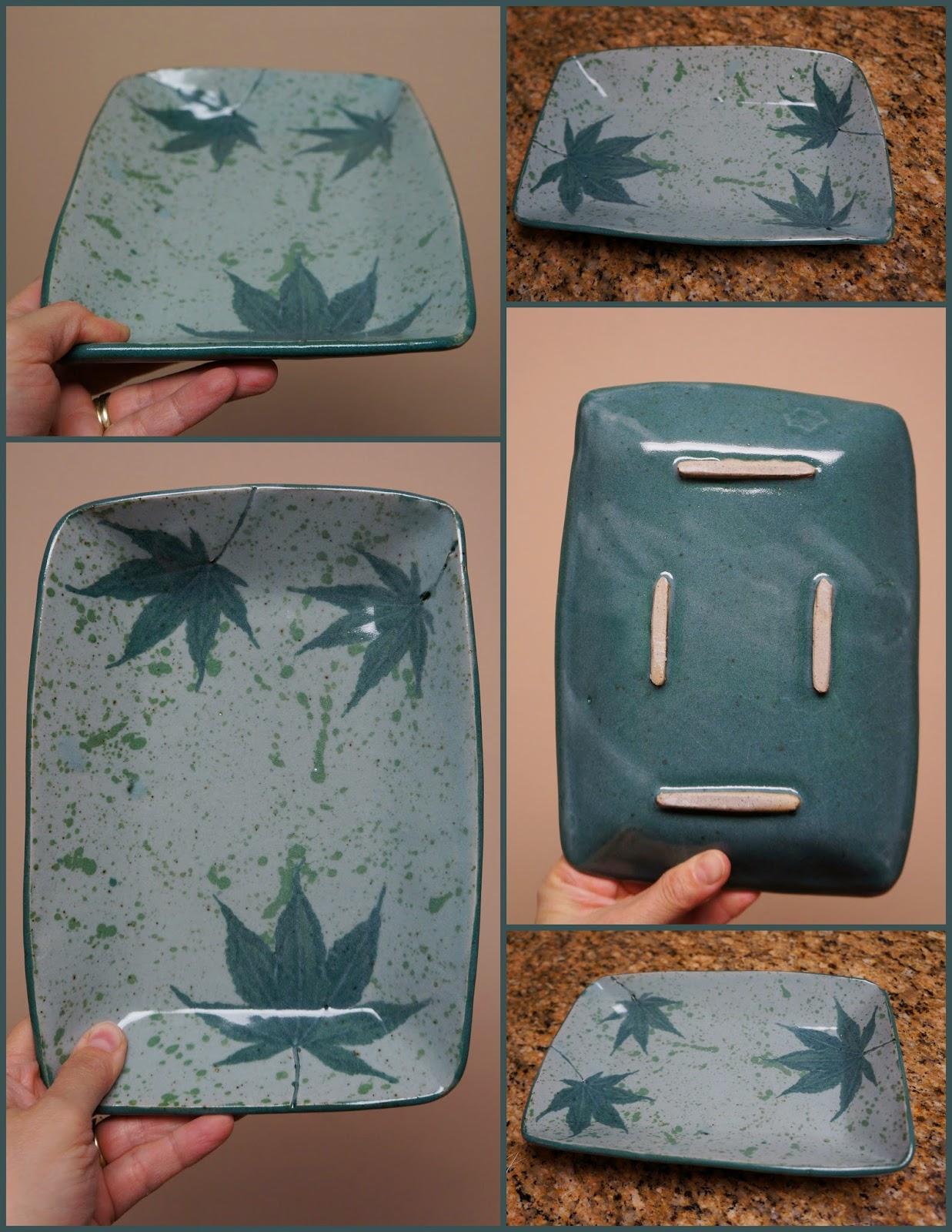 Handmade ceramic stoneware pottery dish with pressed maple leaf design.