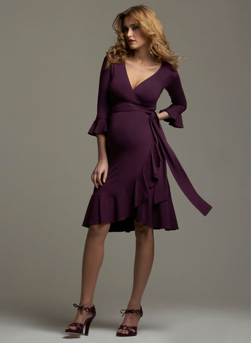knee length purple summer maternity dress