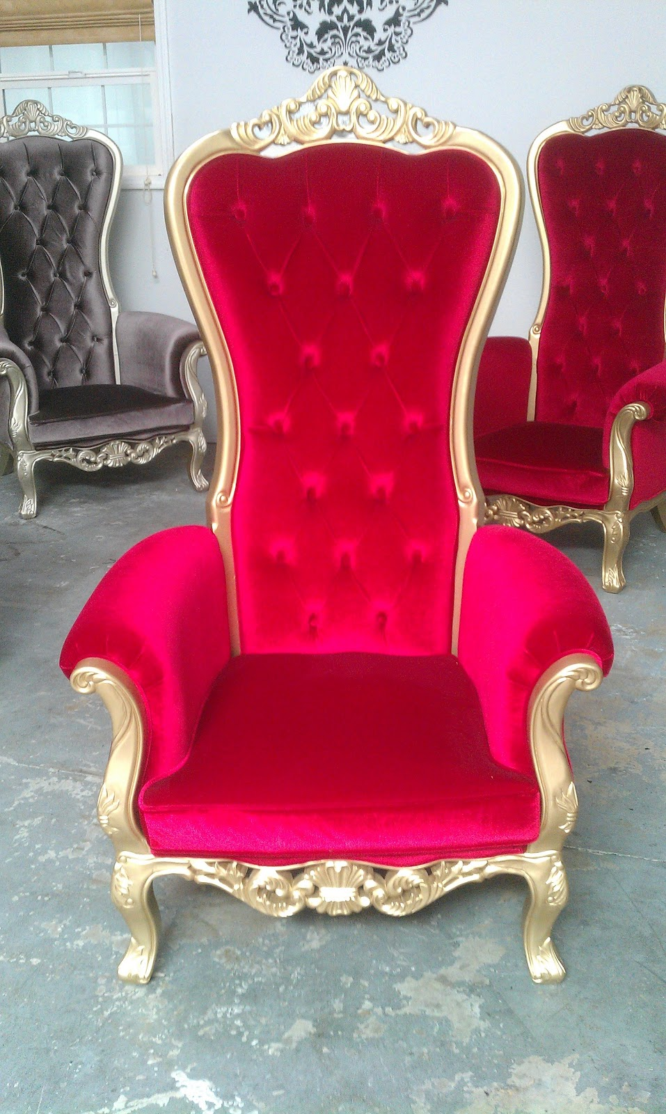 Charmant Red Velvet W/ Gold Trim. Victoria Black Velvet Wing Back Chairs