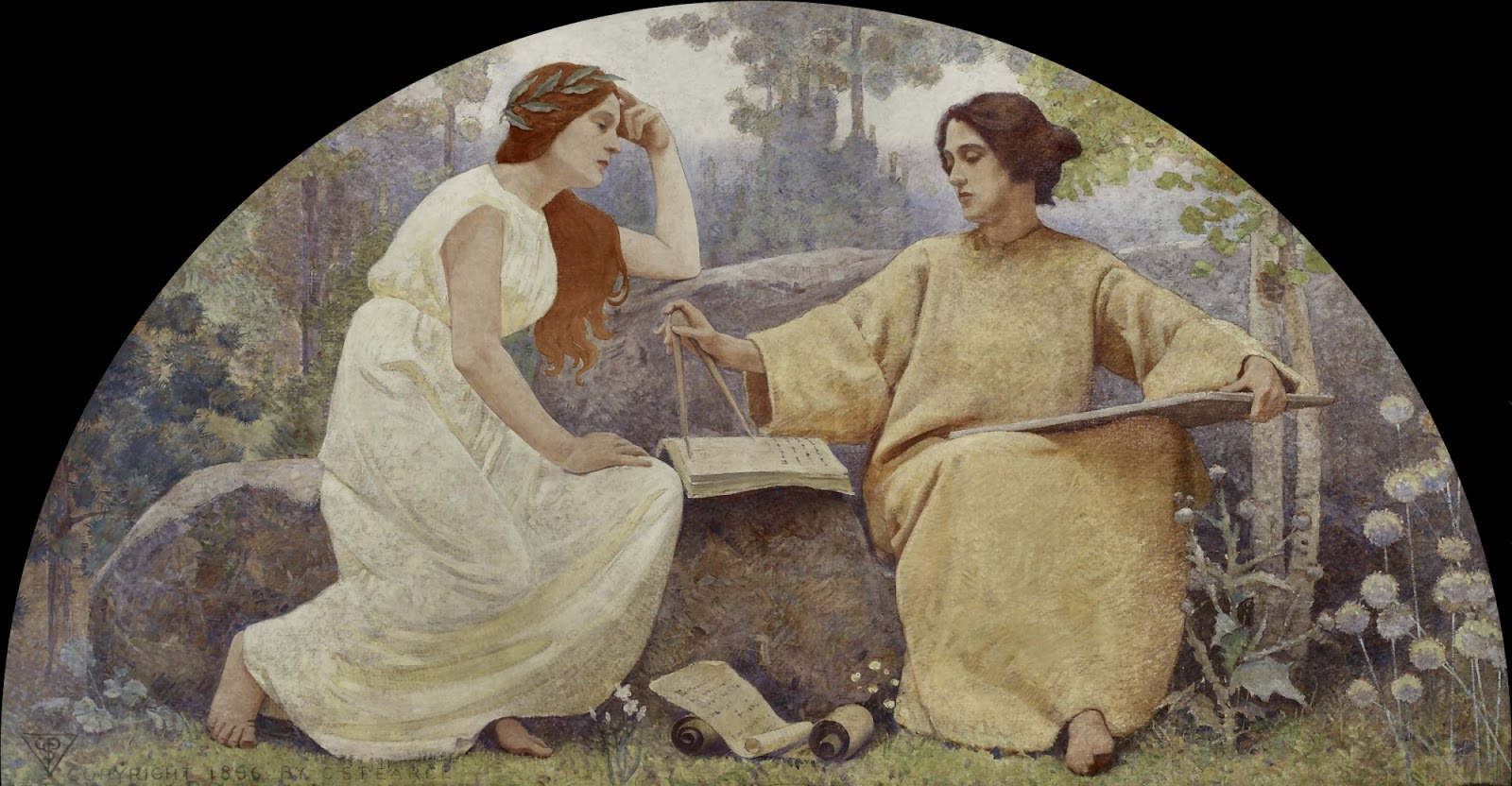 Charles  Sprague  Pearce  mural  library  of  congress  washington  study