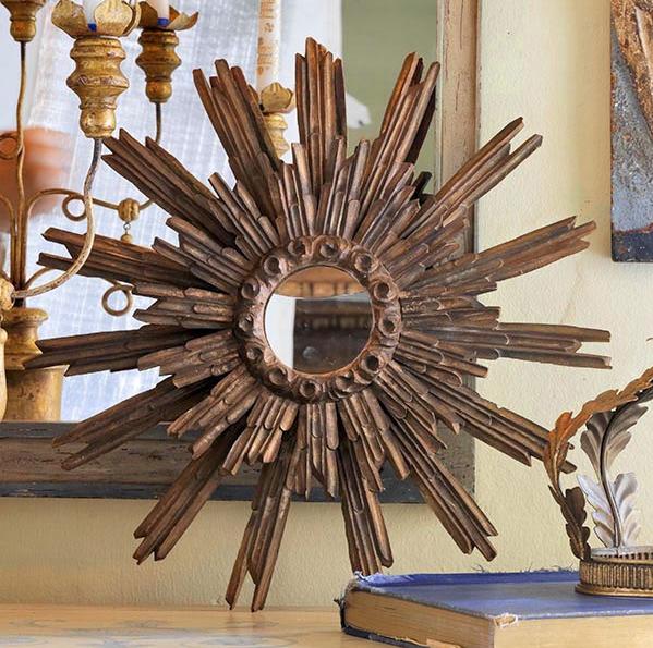 Sunburst Mirror for Home Decor in Folk Art Style