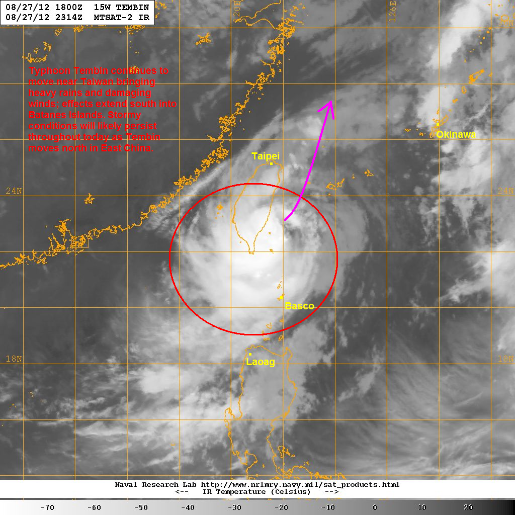 latest satellite image shows the bulk of convection associated with tembin draped across taiwan the system barely looks typhoon at the moment but wind and