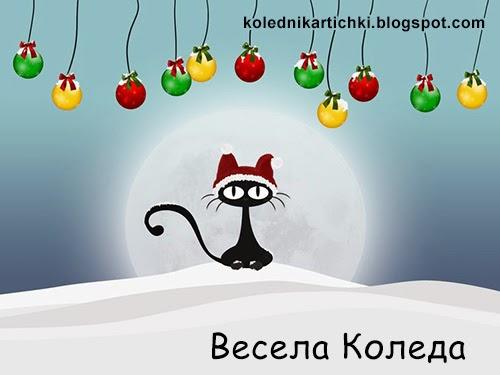 Забавна картичка с пожелание Весела Коледа